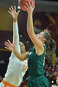 March 18, 2016; Tempe, Ariz;  Green Bay Phoenix forward Mehryn Kraker (10) puts up a shot over Tennessee Lady Volunteers forward Bashaara Graves (12) during a game between No. 7 Tennessee Lady Volunteers and No. 10 Green Bay Phoenix in the first round of the 2016 NCAA Division I Women's Basketball Championship in Tempe, Ariz.
