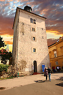 Thw 13th century medieval Lotr??ak Tower from where the Gri? cannon is fired daily at 12 noon, Zagreb, Croatia .<br /> <br /> Visit our CROATIA HISTORIC SITES PHOTO COLLECTIONS for more photos to download or buy as wall art prints https://funkystock.photoshelter.com/gallery-collection/Pictures-Images-of-Croatia-Photos-of-Croatian-Historic-Landmark-Sites/C0000cY_V8uDo_ls