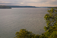 view to the north looking down the Hood Canal from the bluff at Anderson Landing Preserve, Kitsap County park, Washington, USA
