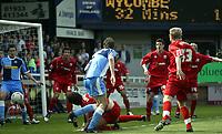 Photo: Marc Atkins.<br /> Rushden & Diamonds v Wycombe Wanderers. Coca Cola League 2. 22/04/2006. Drew Broughton (C) attempts an acrobatic effort.