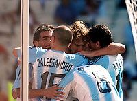 28/08/04 - ATHENS - GREECE -  - OLYMPIC FOOTBALL - FINAL MATCH - MENS  -  At the Olympic Stadium in Athens<br />ARGETNINA (1) win over PARAGUAY (0).<br />Argentine player N* 10 CARLOS TEVEZ goal celebration with ANDRES D'ALESSANDRO.<br />© Gabriel Piko / Argenpress.com / Piko-Press