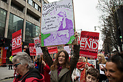 Million Women Rise march on 7th March 2020 in London, United Kingdom. Million Women Rise MWR is a women-only march and rally against male violence against women, held annually in London close to International Womens Day. Thousands of woman from all over the World united together to end all forms of violence, abuse and sexual exploitation.