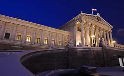 15.12.2010, Innere Stadt, Wien, AUT,  Wien Feature, im Bild Parlament im Winter in der blauen Stunde// EXPA Pictures © 2010, PhotoCredit: EXPA/ M. Gruber