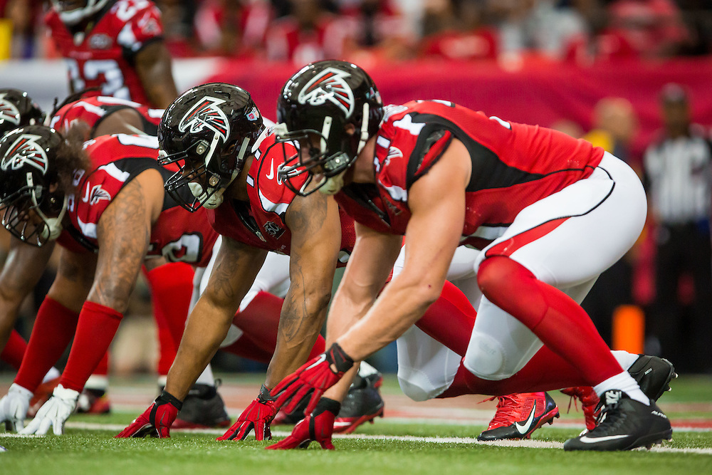 Atlanta Falcons defensive tackle Ra'Shede Hageman during the game between the Minnesota Vikings and the Atlanta Falcons on Sunday, Nov. 29, 2015 at the Georgia Dome. The Falcons lost 20-10, going to 6-5 on the season. Photo by Kevin D. Liles