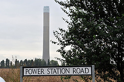 © Licensed to London News Pictures. 07/09/2016<br /> Grain Power Station chimney demolition in Kent.<br /> <br /> One of the country's tallest structures is going to be demolished this morning at 11am.<br />  The Power Station chimney is 244m (801 ft) which makes it taller than Canary Wharf in London. <br /> <br />  The demolition will be a British record for the tallest concrete structure to be blown up!<br /> <br /> <br /> <br /> (Byline:Grant Falvey/LNP)