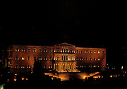 The Parliament Building (Old Palace) at night, Athens, Greece. An example of the early period of Neoclassicism in Greece built between 1836 and 1840 based on the study of the Bavarian architect Fr. Goertner. Originally it served as a palace of Otto, the first King of Greece after the end of the Turkish occupation