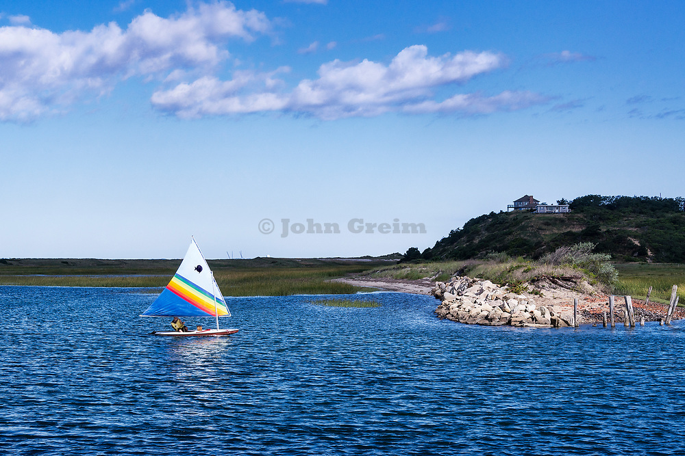 Sunfish sailing in Pamet Harbor, Truro, Cape Cod, Massachusetts, USA