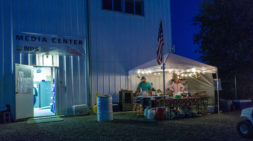 """The """"breakfast facilities"""" set up for the media center volunteers at the 2012 Reno Air Races."""