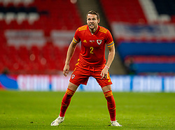 LONDON, ENGLAND - Thursday, October 8, 2020: Wales' Chris Gunter during the International Friendly match between England and Wales at Wembley Stadium. The game was played behind closed doors due to the UK Government's social distancing laws prohibiting supporters from attending events inside stadiums as a result of the Coronavirus Pandemic. England won 3-0. (Pic by David Rawcliffe/Propaganda)