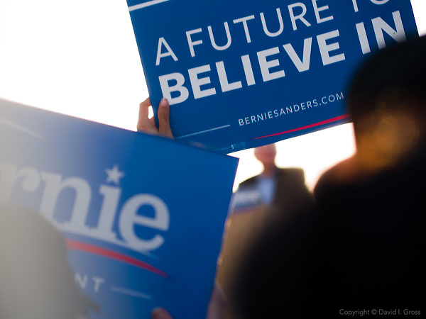 """Bernie Sanders, a candidate for the Democratic nomination for President of the United States, speaks to thousands of supporters at the """"A Future to Believe In"""" rally in Vallejo, California."""
