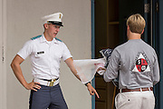 An incoming Citadel freshman known as a knob is ordered into position by an upperclassmen during matriculation day on August 17, 2013 in Charleston, South Carolina. The Citadel is a state military college that began in 1843.