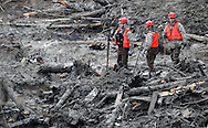 Rescue workers watch for victims as heavy equipment moves debris at the mudslide in Oso, Washington March 30, 2014. Local churches offered prayers on Sunday for the victims of last week's devastating mudslide in Washington state and words of solace for grieving families and friends, many of whom are still waiting for news of missing loved ones.  REUTERS/Rick Wilking (UNITED STATES)