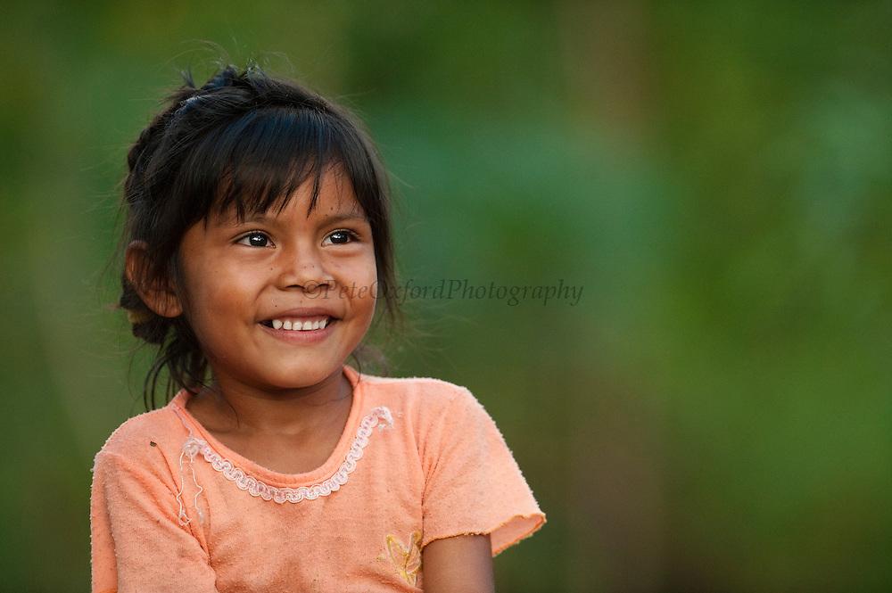 Macushi girl,<br /> Fairview Amerindian village<br /> Iwokrama Reserve<br /> GUYANA. South America