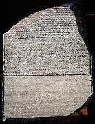Rosetta Stone: Basalt slab inscribed with decree of pharaoh Ptolemy Epiphanes (205-180 BC) in three languages, Greek, Hieroglyphic and Demotic script. Discovered near Rosetta in Egypt in 1799, became key to deciphering Egyptian inscriptions British Museum