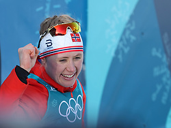 PYEONGCHANG, Feb. 15, 2018  Ragnhild Haga (L) from Norway celebrates after finishing women's 10KM free event of country skiing at Pyeongchang 2018 Winter Olympic Games at Alpensia Cross-Country Centre, PyeongChang, South Korea, Feb. 15, 2018. Ragnhild Haga claimed champion in a time of 25:00.5. (Credit Image: © Bai Xuefei/Xinhua via ZUMA Wire)