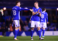 Sam Gallagher of Birmingham city and Marc Roberts of Birmingham city celebrate their win .EFL Skybet championship match, Birmingham city v Cardiff city at St.Andrew's stadium in Birmingham, the Midlands on Friday 13th October 2017.<br /> pic by Bradley Collyer, Andrew Orchard sports photography.