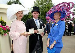 Kamilya Novoskonov (left), Nikola Tutus and Nataliya Tutus arriving during day one of Royal Ascot at Ascot Racecourse.