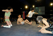 """Wrestlers (left to right) """"L'amant""""  """"E.T"""" and """"Orochi"""". All three suffer from cerebral palsy. Only attacks to their afflicted areas are disallowed."""
