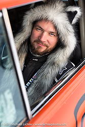Sergey Axenov about to race down the mile long ice track in the Big Boys' Big Toys 1955 Chevy Sedan Delivery at the Baikal Mile Ice Speed Festival. Maksimiha, Siberia, Russia. Saturday, February 29, 2020. Photography ©2020 Michael Lichter.