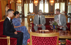 The Duke and Duchess of Sussex meet with the King of Morocco (second right) and his son The Crown Prince of Morocco, Moulay Hassan (left) at his residence in Rabat, during a private audience with him, on the third day of their tour of Morocco.