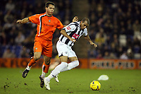 Photo: Rich Eaton.<br /> <br /> West Bromwich Albion v Luton Town. Coca Cola Championship. 12/01/2007. Diomansy Kamara right of West Brom outpaces Lewis Emanuel left of Luton