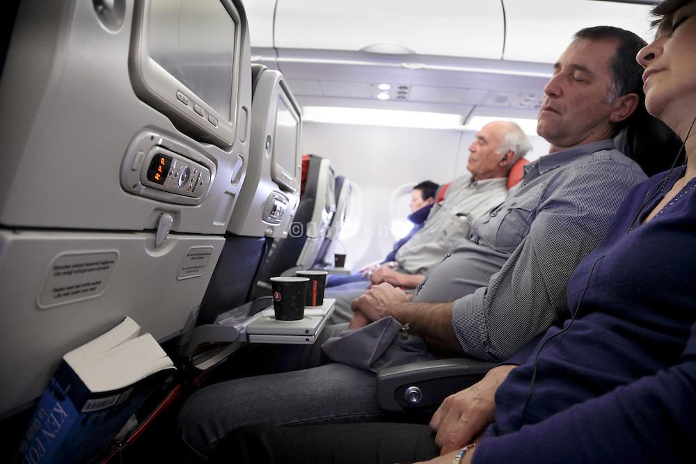 sleeping passengers during flight