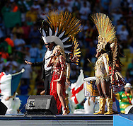 Colombian singer Shakira performs during the 2014 FIFA World Cup Final match at Maracana Stadium, Rio de Janeiro<br /> Picture by Andrew Tobin/Focus Images Ltd +44 7710 761829<br /> 13/07/2014