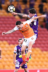 January 18, 2018 - Brisbane, QUEENSLAND, AUSTRALIA - Corey Gameiro of the Roar (#11, left) and Scott Neville of the Glory (#23) compete for the ball during the round seventeen Hyundai A-League match between the Brisbane Roar and the Perth Glory at Suncorp Stadium on January 18, 2018 in Brisbane, Australia. (Credit Image: © Albert Perez via ZUMA Wire)