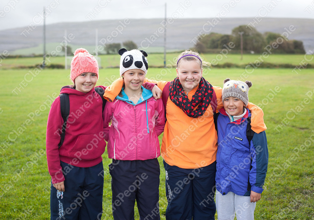 Mia Bannon, Enya Burke, Kate Burke and Amina Bannon all from Newmarket on Fergus at The Ballyvaughan Fanore Walking Clubs Burren Peaks Walking Festival.  Pic Sean Curtin Press 22.