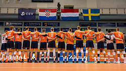 Line up Netherlands for National Anthem during the CEV Eurovolley 2021 Qualifiers between Sweden and Netherlands at Topsporthall Omnisport on May 14, 2021 in Apeldoorn, Netherlands
