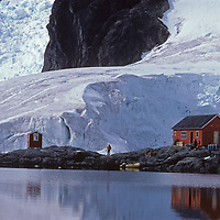 Argentine scientists look after Almirante Brown Base in Paradis Bay on the Antarctic Peninsula.  Years ago an over-wintering doctor burned down the main structures in hopes of forcing a rescue for himself.