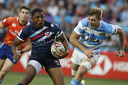 April 8, 2018 - Hong Kong, HONG KONG - Kevon Williams (10) of the United States shown against Argentina during the 2018 Hong Kong Rugby Sevens at Hong Kong Stadium in Hong Kong. (Credit Image: © David McIntyre via ZUMA Wire)