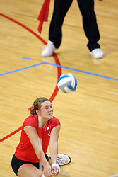 25 AUG 2007: Carli Reihman stretches for a dig. By a score of 3 games to 1,  Illinois State University Redbirds defeated the Redhawks of Miami of Ohio at Redbird Arena on the campus of Illinois State University in Normal Illinois.