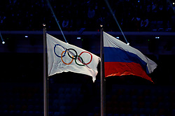 File photo dated 05-12-2017 of File photo dated 23-02-2014 of The Olympic flag flies next to the Russian flag
