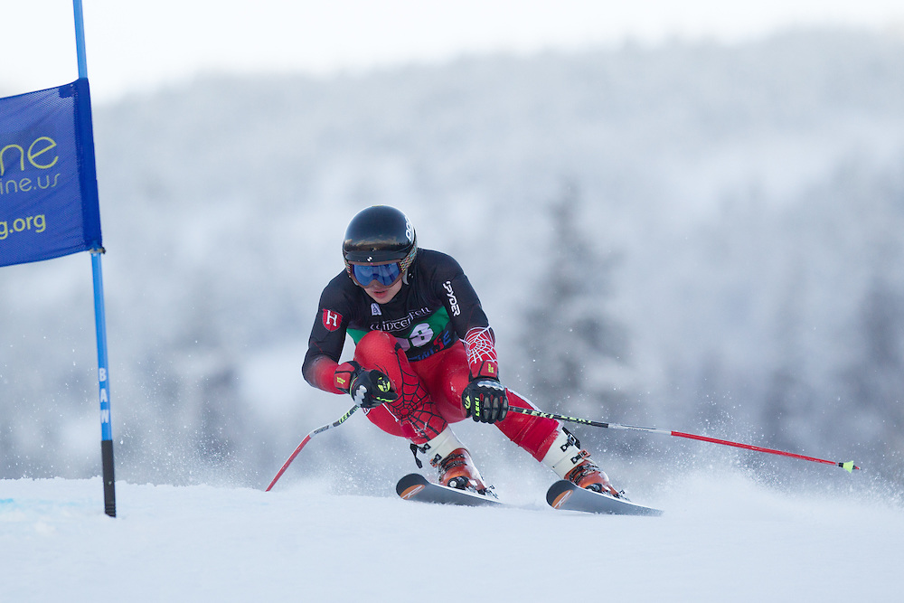 James Stevenson of Harvard University, skis during the first run of the men's giant slalom at the Colby College Carnival at Sugarloaf Mountain on January 17, 2014 in Carabassett Valley, ME. (Dustin Satloff/EISA)