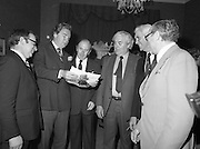 31/05/1982<br /> 05/31/1982<br /> 31 May 1982 <br /> Bord Bainne 21st anniversary. Leading representatives of the Dairy industry, farming organisations, business and Government attended a special luncheon in the Shelbourne Hotel, Dublin to celebrate the 21st anniversary of the establishment of An Bord Bainne. Pictured at the event were (l-r): Brian Joyce, Managing Director, Bord Bainne; Tony O'Reilly, First general Manager of An Bord Bainne; Richard Burke, E.E.C. Commissioner in Brussels; John Wilson, T.D., Minister for Transport, Post and Telegraphs; Tom Cleary, Chairman of An Bord Bainne and Joe McGough, second General Manager of An Bord Bainne.
