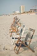 Beach chairs on the beach in Myrtle Beach, SC.