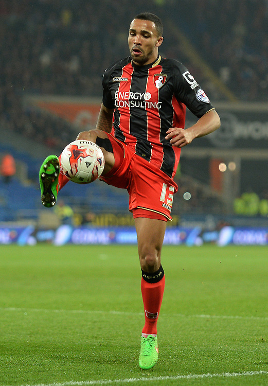 Bournemouth's Callum Wilson in action during todays match  <br /> <br /> Photographer Ian Cook/CameraSport<br /> <br /> Football - The Football League Sky Bet Championship - Cardiff v Bournemouth - Tuesday 17th March 2015 - Cardiff City Stadium - Cardiff<br /> <br /> © CameraSport - 43 Linden Ave. Countesthorpe. Leicester. England. LE8 5PG - Tel: +44 (0) 116 277 4147 - admin@camerasport.com - www.camerasport.com