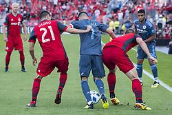 August 12, 2018 - Toronto, Ontario, Canada - MLS Game at BMO Field 2-3 New York City. IN PICTURE: DAVID VILLA, JONATHAN OSORIO (Credit Image: © Angel Marchini via ZUMA Wire)