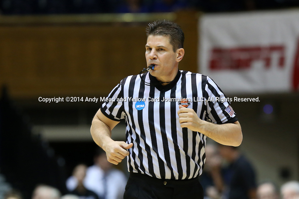 22 March 2014: Referee Frank Steratore. The Duke University Blue Devils played the Winthrop University Eagles in an NCAA Division I Women's Basketball Tournament First Round game at Cameron Indoor Stadium in Durham, North Carolina.
