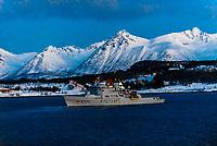 Kystvakt, a Nordkapp class Norwegian Coast Guard ship off the coastline near Harstad, Arctic, Northern Norway.