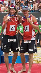 31.07.2016, Strandbad, Klagenfurt, AUT, FIVB World Tour, Beachvolleyball Major Series, Klagenfurt, Herren, im Bild Aleksandrs Samoilovs (1, LAT), Janis Smedins (2, LAT) // during the FIVB World Tour Major Series Tournament at the Strandbad in Klagenfurt, Austria on 2016/07/31. EXPA Pictures © 2016, PhotoCredit: EXPA/ Lisa Steinthaler