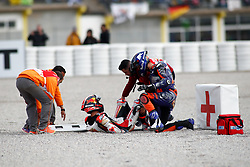 November 17, 2019, Cheste, VALENCIA, SPAIN: Iker Lecuina, of Red Bull KTM Tech 3 from Spain, and Johann Zarco, rider of LCR Honda from France, after a crash during the Race of the Valencia Grand Prix of MotoGP World Championship celebrated at Circuit Ricardo Tormo on November 16, 2019, in Cheste, Spain. (Credit Image: © AFP7 via ZUMA Wire)