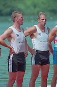 Lucerne, Switzerland. 1995 FISA WC III, Lake Rotsee, Lucerne,<br /> GBR M2-, Matthew PINSENT and Steve REDGRAVE, awards dock.<br /> [Mandatory Credit. Peter SPURRIER/Intersport Images]<br /> <br /> Image scanned from Colour Negative
