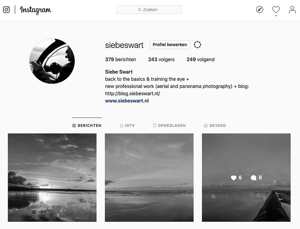 Eigen Instagram feed met werkfoto's op lokatie, sneak previews 'Time & tide' en meer: #siebeswart