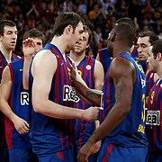FC Barcelona Regal's players during their Euroleague group D matchday 5 Galatasaray between  FC Barcelona Regal at the Abdi Ipekci Arena in Istanbul at Turkey on Thursday, November 17 2011. Photo by TURKPIX