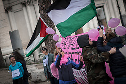 March 10, 2018 - Rome, Italy, Italy - Flash-mob to protest against the start of the next Giro d'Italia cycling from Israel, in the International Day #cambiagiro.on March 10, 2018 in Rome, Italy. (Credit Image: © Andrea Ronchini/NurPhoto via ZUMA Press)