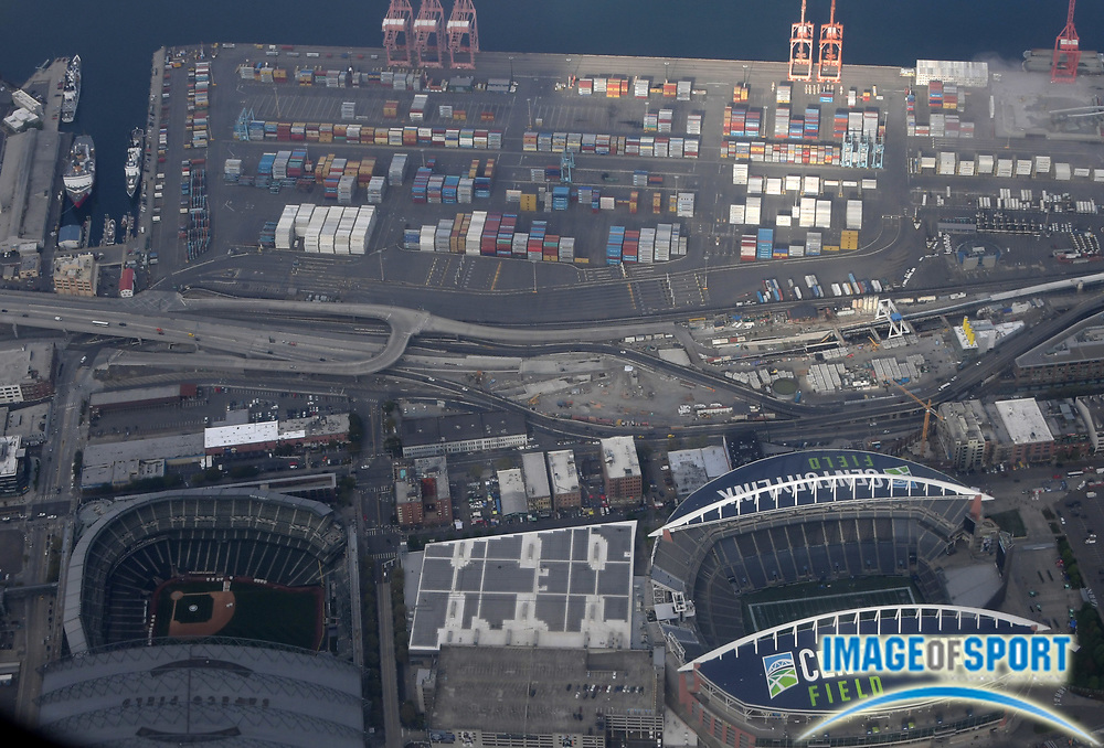 Sep 11, 2016; Seattle, WA, USA; General aerial view of CenturyLink Field (right) and Safeco Field before a NFL game between the Miami Dolphins and the Seattle Seahawks at CenturyLink Field.