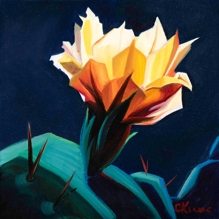 SOLD<br /> Prickly pear blossoms abound in spring throughout the Southwest desert.<br /> 8 x 8, oil on canvas