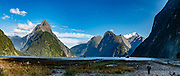 Milford Sound, in Fiordland National Park, Southland region, South Island of New Zealand. In 1990, UNESCO honored Te Wahipounamu - South West New Zealand as a World Heritage Area. This image was stitched from multiple overlapping photos.